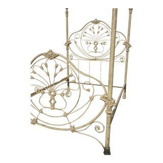 Antique French Country Off White Gold Gilt Iron Poster Bed Frame Queen Headboard For Sale