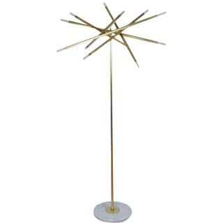"Showroom Sample! Blueprint Lighting Model 125 ""Nest"" Sculptural Brass & Marble Floor Lamp For Sale"