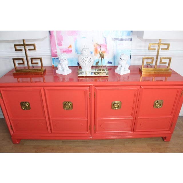 Orange Thomasville Lacquered Hollywood Regency Chinoiserie Credenza For Sale - Image 8 of 11