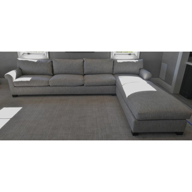 Custom Made Sectional Sofa with Long Chaise Lounge For Sale - Image 10 of 10