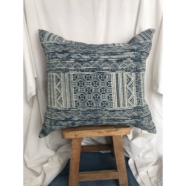 Indigo Hill Tribe Batik Blue & White Cotton Pillow For Sale - Image 4 of 9