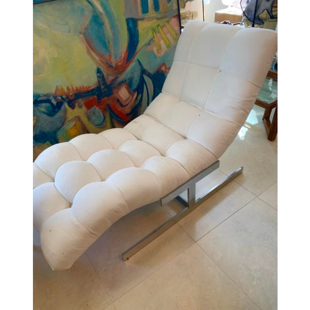 Metal Milo Baughman Flat Bar Wave Chaise Lounge For Sale - Image 7 of 8