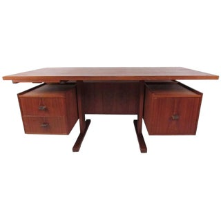 Mid-Century Modern Floating Top Desk in Teak For Sale