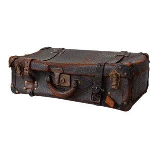 Antique Leather Suitcase For Sale