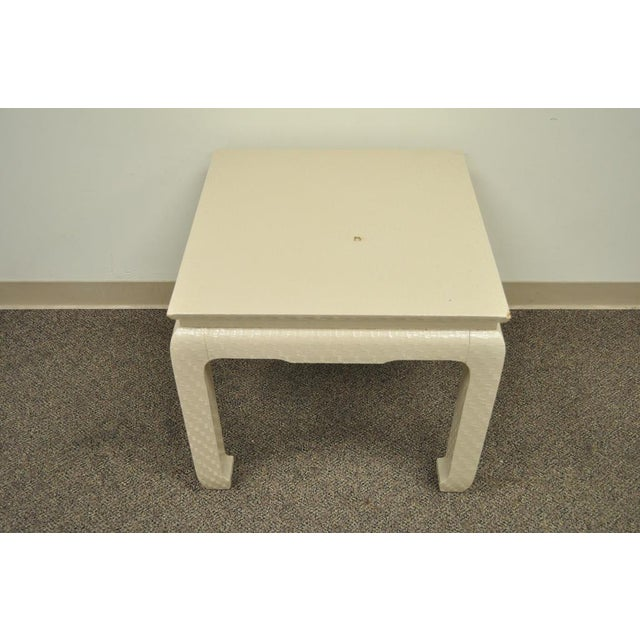 Vintage James Mont for Baker Asian Lacquered Grasscloth Occasional Side Accent Table - Image 4 of 11