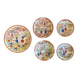 Vintage Japanese Porcelain Geisha Dishes - Set of 5 For Sale