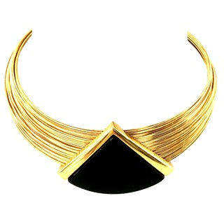 20th Century Gold & Lucite Wire Collar Choker Style Necklace By Napier For Sale