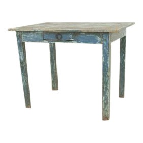 American Country Rustic Style (19th Cent) Rectangular Antique Blue Painted Drop Leaf Dining Table For Sale