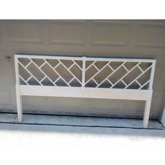 Thomasville Vintage Fretwork White Wash King Size Palm Beach Regency Faux Bamboo Wood Headboard For Sale - Image 4 of 4