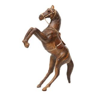 Vintage Leather Horse Sculpture For Sale