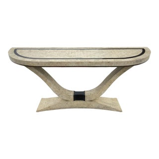 1990s Maitland Smith Tessellated Fossilized Travertine Marble Console Table For Sale