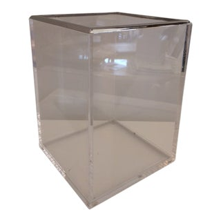 Modern Lucite and Chrome Wastepaper Basket For Sale