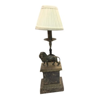 Maitland Smith Lion Lamp Brass & Marble For Sale