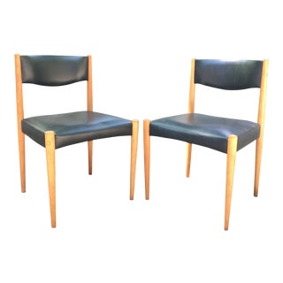 1950s Vintage Danish Modern Black and Wood Chairs- a Pair For Sale