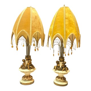 Vintage Hollywood Regency White & Gold Cherub Table Lamps With Umbrella Velvet Shades - a Pair For Sale