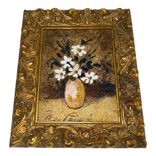 Mini Mid 20th Century Floral Still Life Acrylic Painting, Framed For Sale