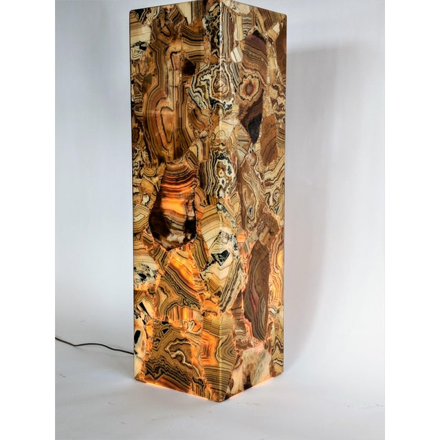 1970s Muller of Mexico Modern Lighted Onyx Pedestal - Image 2 of 11