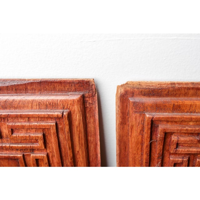 Chinese Hand-Carved Wooden Calligraphy Panels - A Pair - Image 9 of 9