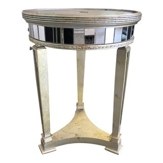 Regency Horchow Borghese Round Mirrored End Table For Sale