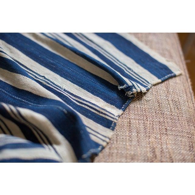 Vintage Hand Woven Indigo Stripe Throw For Sale - Image 4 of 6