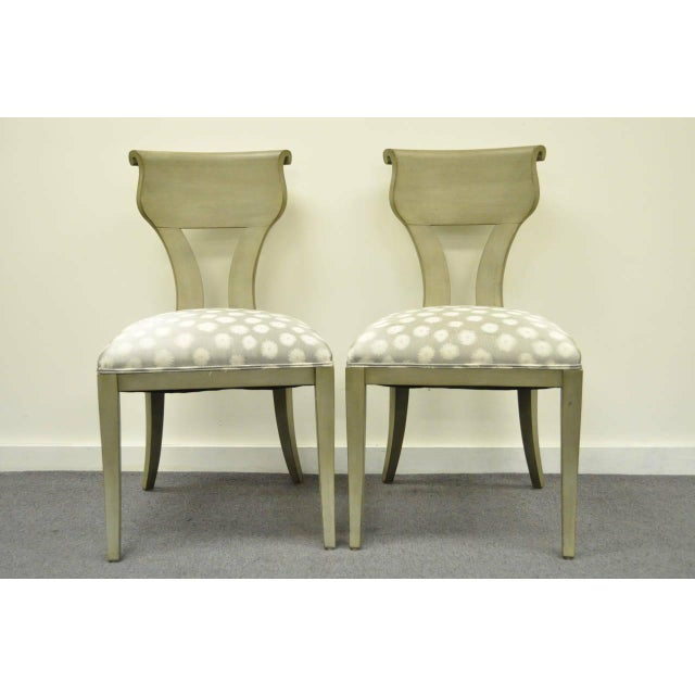 Very nice pair of Vintage Neoclassical / Hollywood Regency Style Klismos Side Chairs with a Greenish Gray Wash Painted...