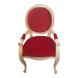 French White Wood & Raspberry Velvet Accent Chair