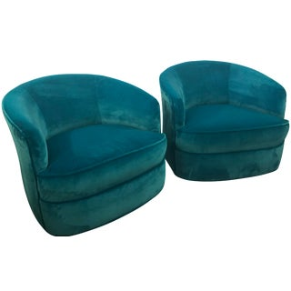 Vintage Milo Baughman Hollywood Regency Blue Velvet Walnut Wood Base Swivel Chairs -A Pair For Sale