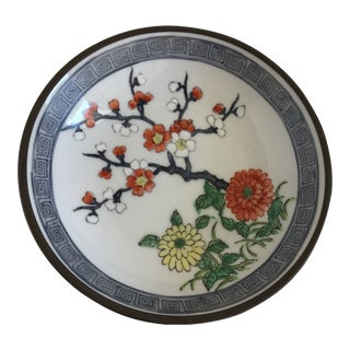 Vintage Handcrafted Asian Blossom Copper Tray For Sale