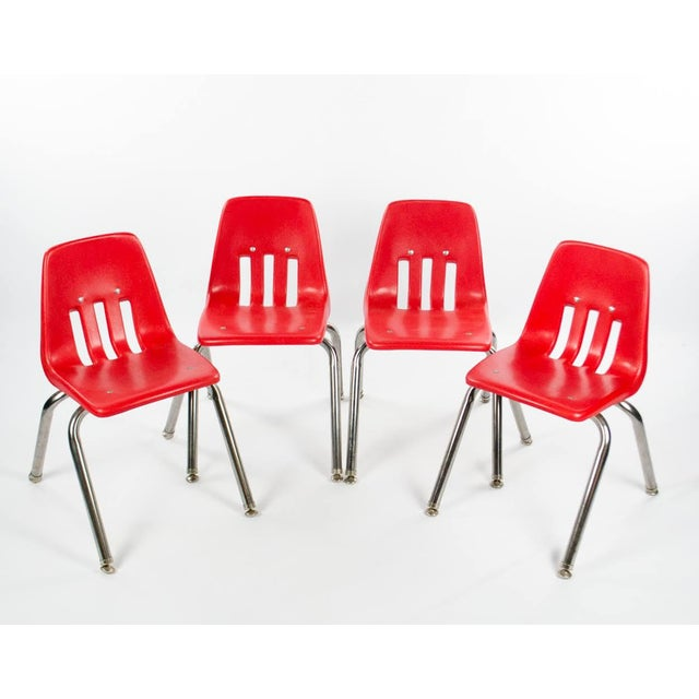 Virco Mid-Century Red Stacking School Chairs - Set of 4 For Sale - Image 12 of 12