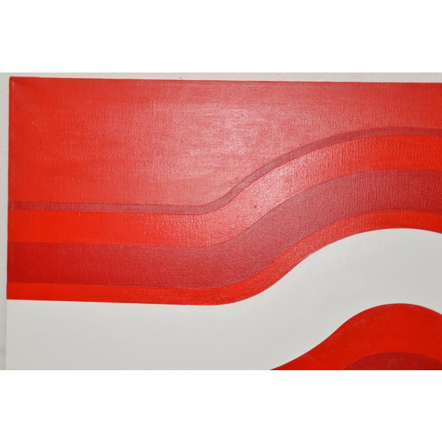 Vintage Red & White Op-Art Painting by Charles Hersey C.1970s For Sale In San Francisco - Image 6 of 8