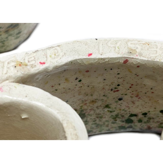 Abstract 1950s Hand Made Ceramic Abstract Swirling Candle Holders - a Pair For Sale - Image 3 of 5