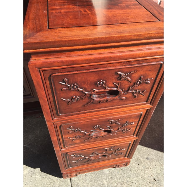 Carved Chinese Rosewood Vanity Dresser with Mirror For Sale In San Francisco - Image 6 of 11