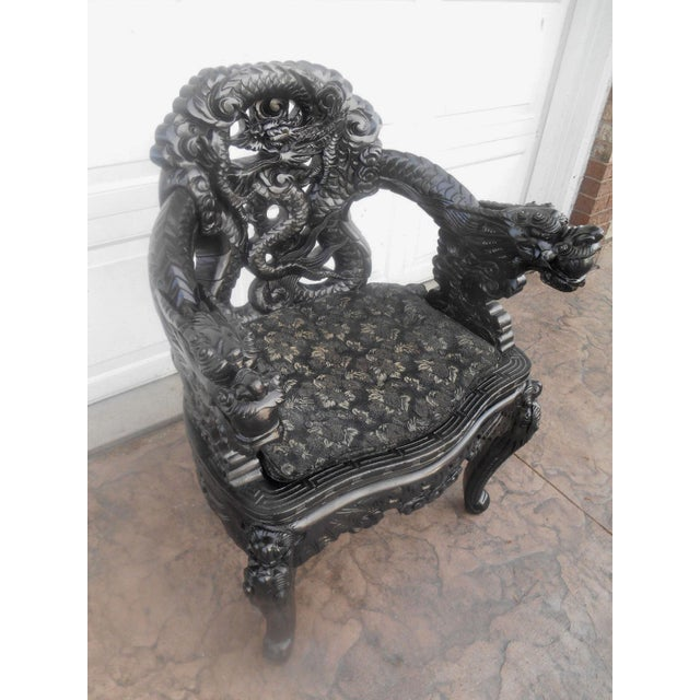 20th Century Chinese Wood Carved Dragon Throne Armchair For Sale - Image 9 of 10