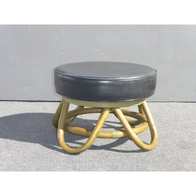 Mid Century Modern Swivel Ottoman With Rattan Base - Image 2 of 8