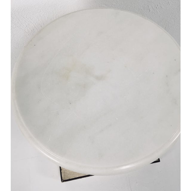 1950s White Carrera Top Column Side Table For Sale - Image 5 of 10