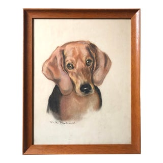 Vintage Mid-Century Pastel Dachshund Dog Portrait Drawing For Sale