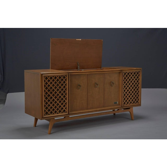 Brown Zenith Stereophonic Stereo Cabinet With Record Player and Working Radio For Sale - Image 8 of 8