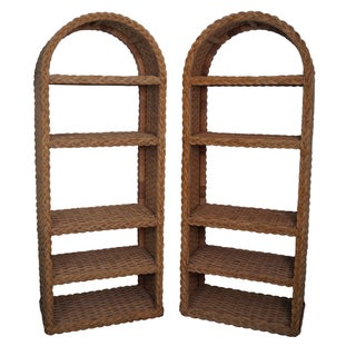 Quality Arched Top Wicker Rattan Bookcases - Pair