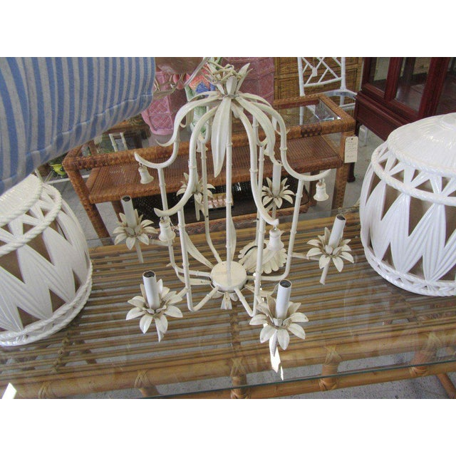 Faux Bamboo Palm Beach Faux Bamboo Chandelier For Sale - Image 7 of 7