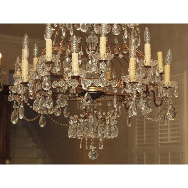 Italian Italian 18 Lite Crystal Tiered Chandelier For Sale - Image 3 of 10