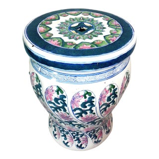Hand Painted Ceramic Lamp Plant Table For Sale