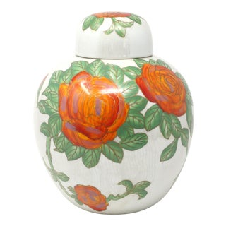 Vintage Orange-Red Roses Iridescent White Melon Jar For Sale