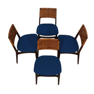 Set of 4 Petite 1950's Dining Chairs W/ New Upholstery For Sale