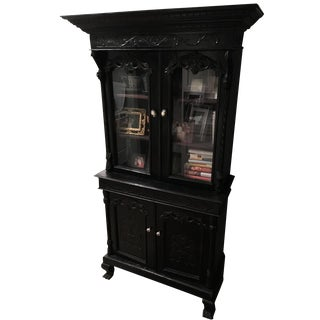 Abc Carpet & Home Antique Black China Cabinet For Sale