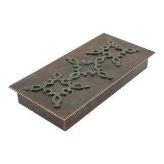 French 1940s Modernist Brass Decorative Lidded Box With Geometric Inlaid For Sale