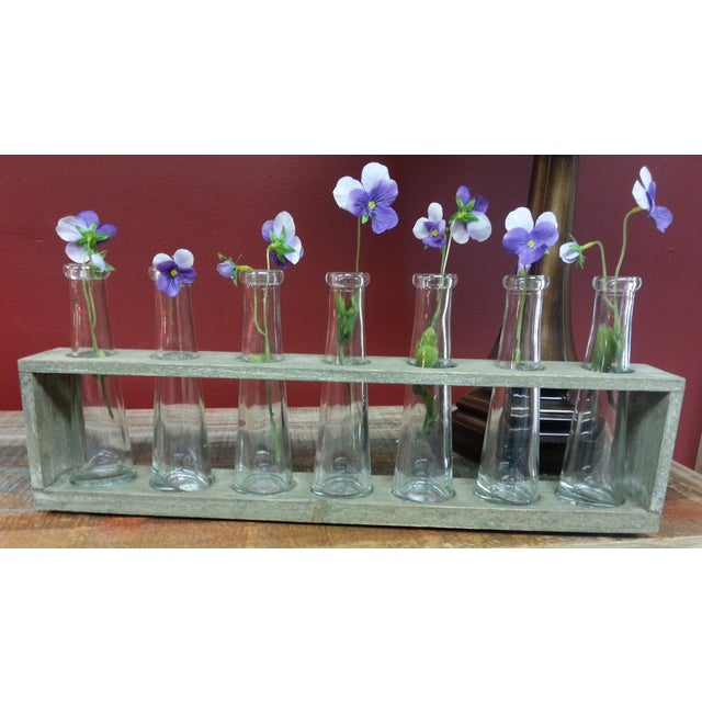 Traditional Wood Tray With 7 Glass Bud Vases - Flower Vases For Sale - Image 3 of 9