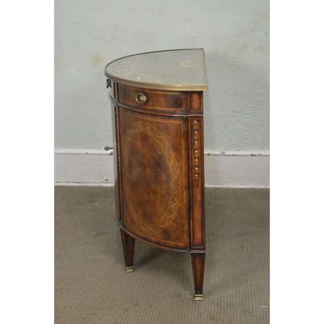 Theodore Alexander Theodore Alexander Inlaid Burl Wood Demilune Bow Front Side Cabinet Console For Sale - Image 4 of 13