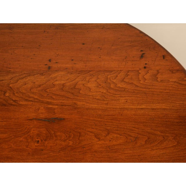 """Vintage English Hand-Crafted Solid Cherry 64"""" Round Dining Table For Sale - Image 9 of 11"""