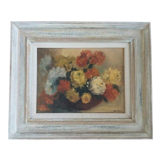 1960s Vintage Old Roses Oil Painting For Sale