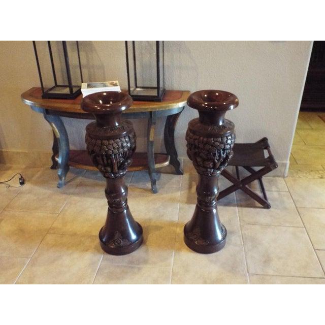 Thai Carved Wood Vases - Pair - Image 2 of 9